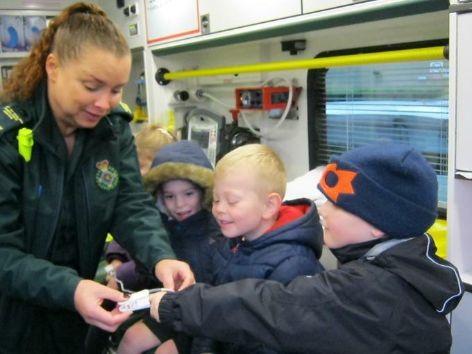 Inside the ambulance, testing the equipment!