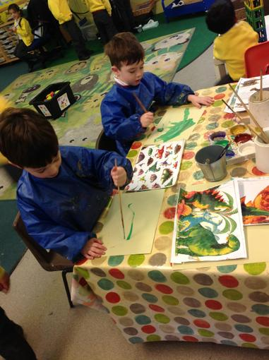 Painting pictures of dinosaurs