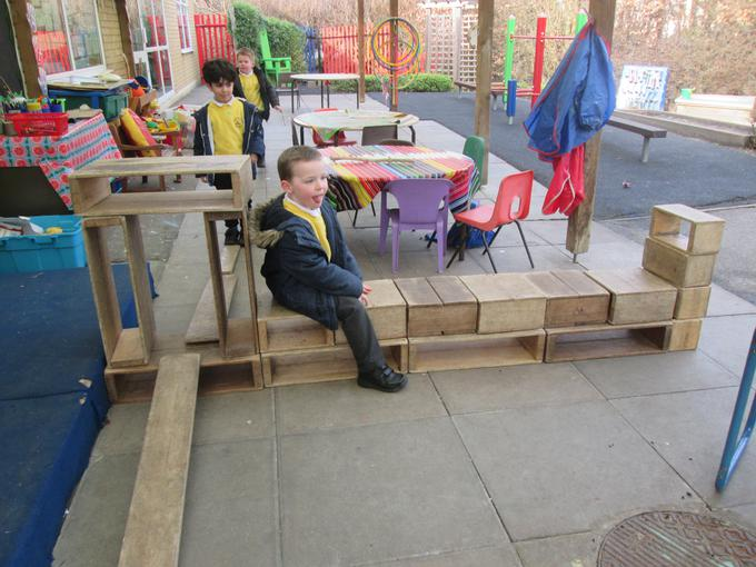 We also made vehicles using wooden blocks
