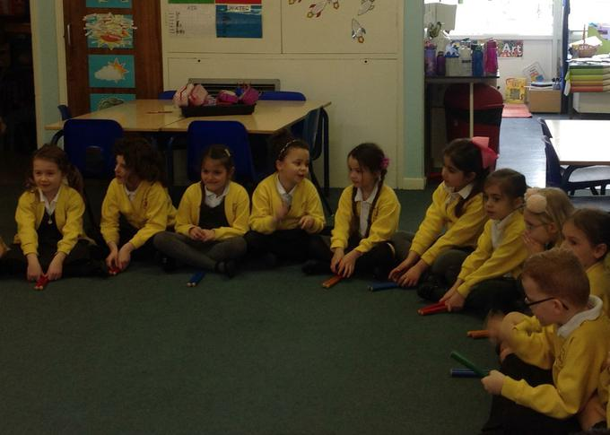 Enjoying our music lesson