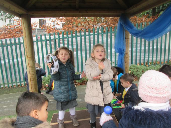 Playing musical instruments outside