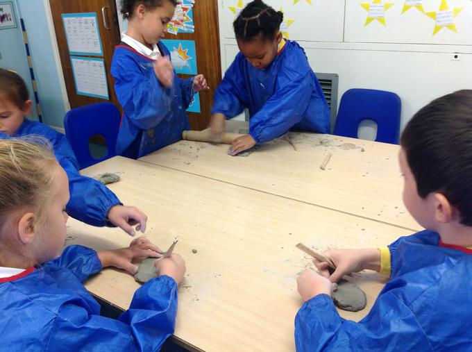 We used clay to form different shapes and designs