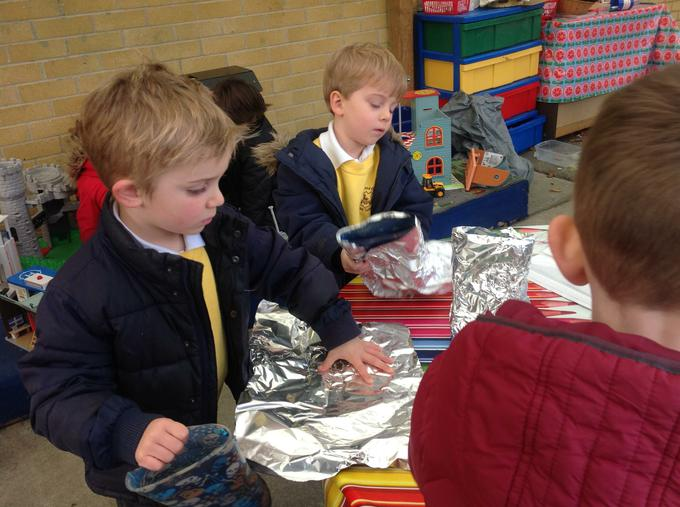We used tinfoil to make space boots