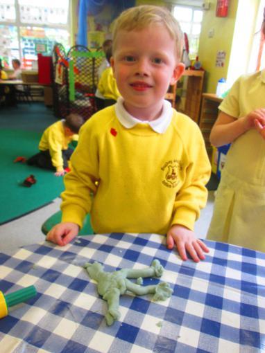 We made sea creatures using playdough