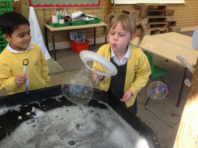 Testing our bubble wands