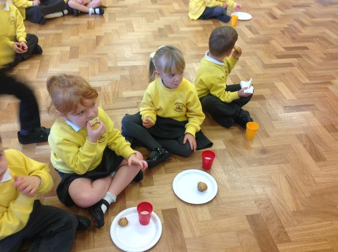 The children sampled different foods