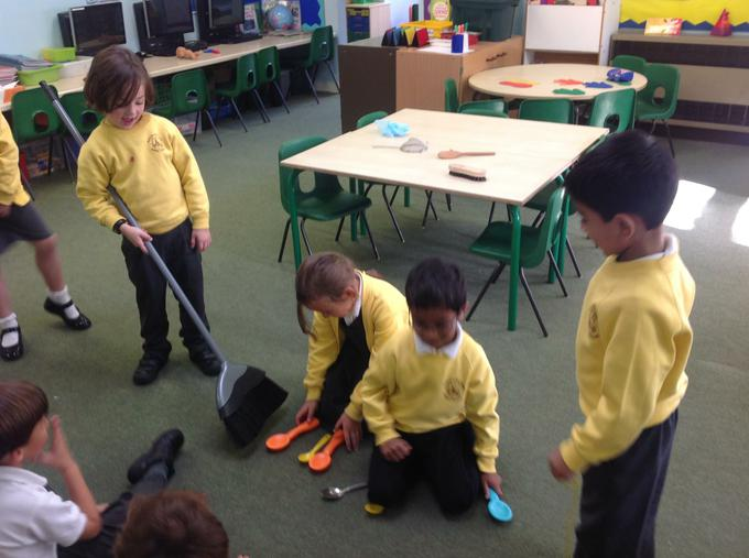 Traction Man saves the spoons from the broom!