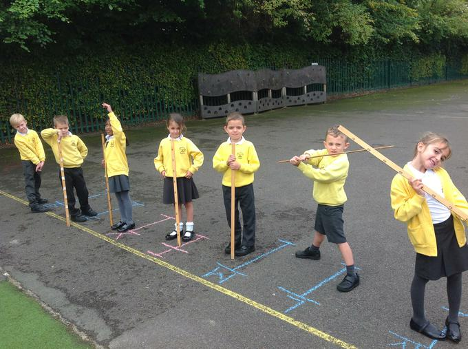 having a go at measuring using chalk