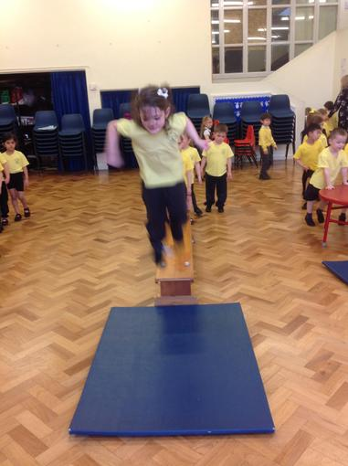 Jumping and landing in our PE session