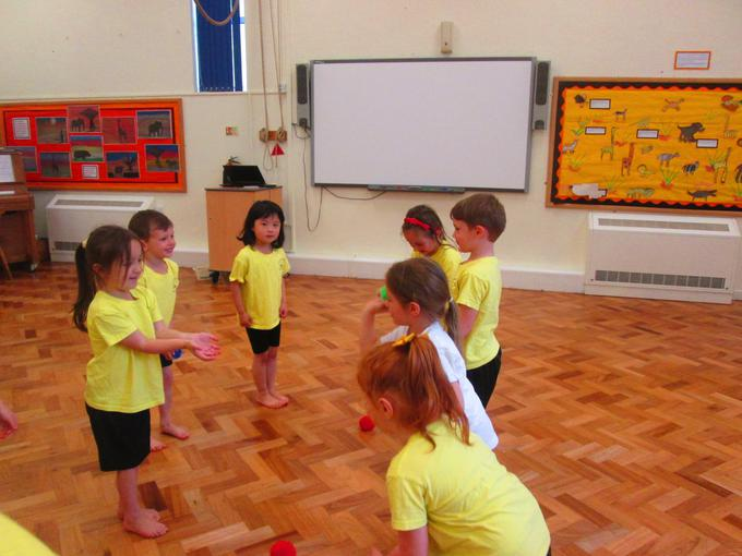 Concentrating on our throwing and catching