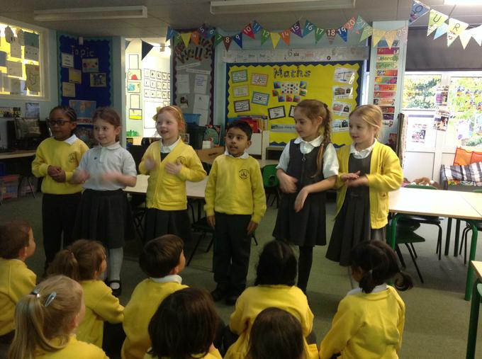 Performing poems adding actions and rhymes