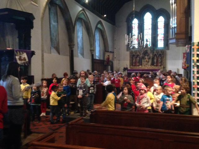 Practising our Christmas performance at the church