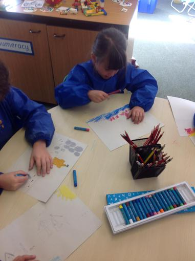 Using oil pastels to create pictures