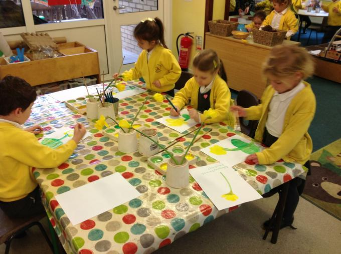 Observational paintings of daffodils