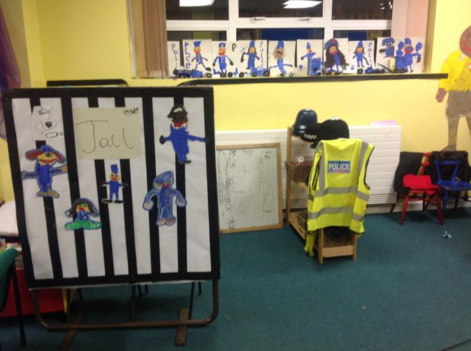 Our role play area is now a police station