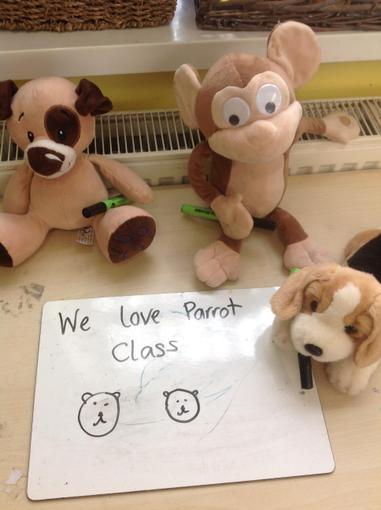 Our bears enjoying an empty classroom at lunch