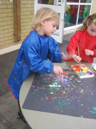 We used paint to make firework pictures