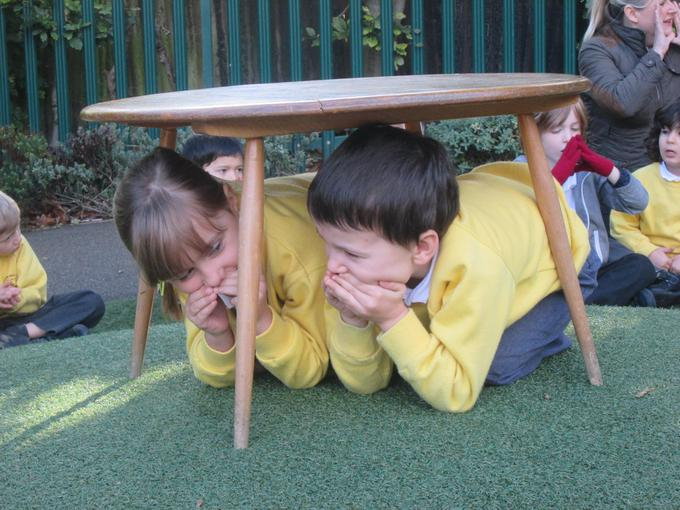 Acting out our story, hiding from the giant