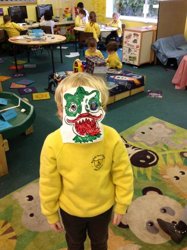 We made dragon masks