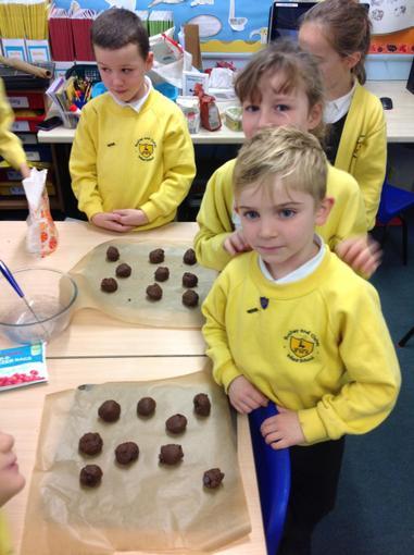 Baking chocolate cookies!