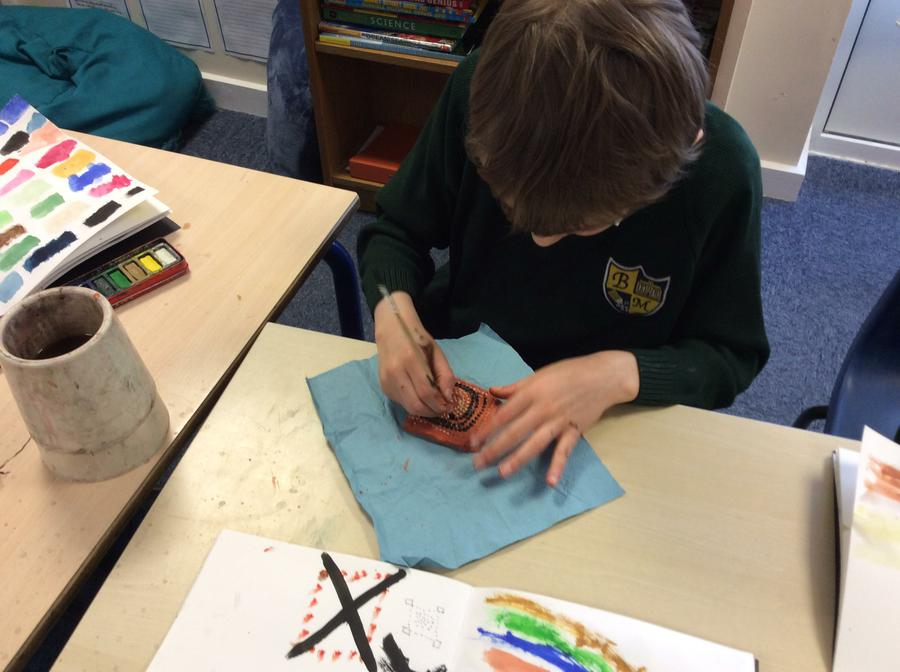 Carefully adding water colours