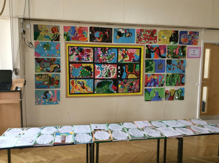 Parents invited in to see our art and English work
