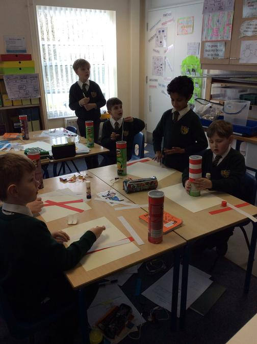 The children busy making their lighthouses