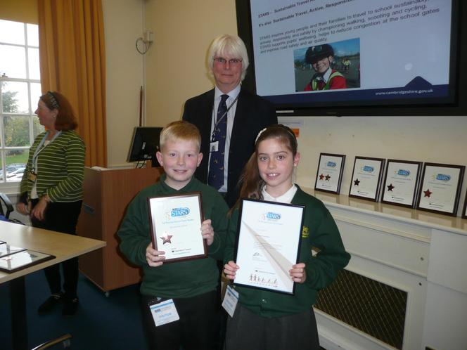 Tommy and Sophie receiving our Bronze Modeshift Stars award at Shire Hall in Cambridge.