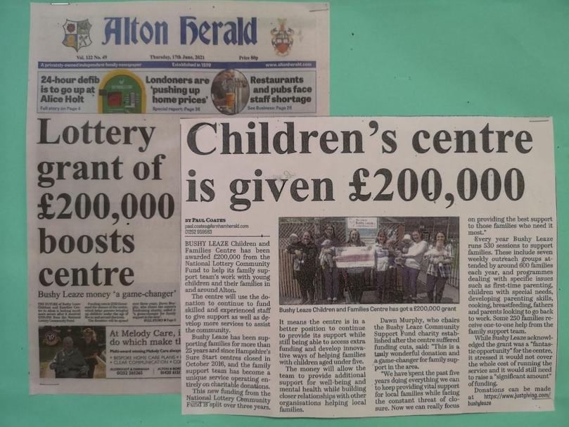 News of the National Lottery Community Fund being awaded to the Family Support Team