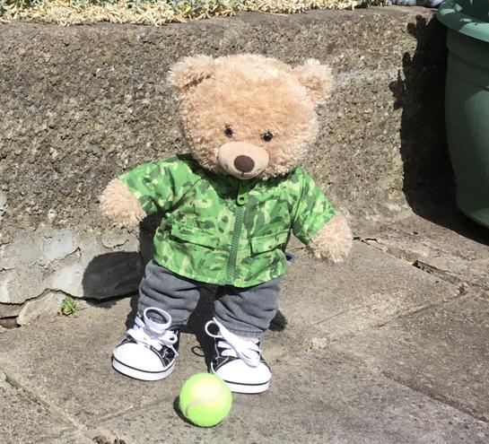 Bute-ie Bear is staying active outside.