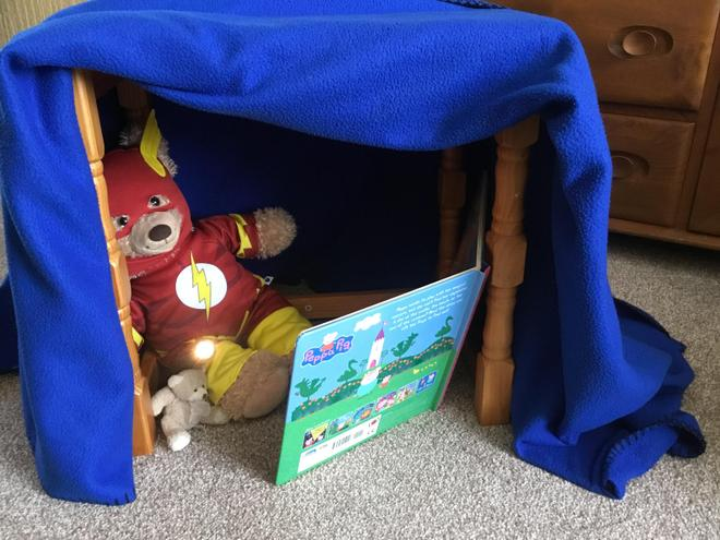 Build a den. Will it be a cave or a castle?