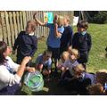 Releasing our butterflies on the school field