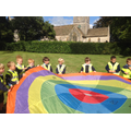 Village trail and parachute games