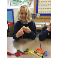 Practising our sewing skills