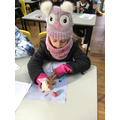 Decorating our reindeer biscuits