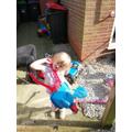 Scarlett has been busy in the garden.
