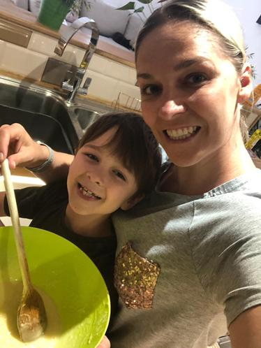 Mrs Siddons baking cakes with her youngest