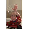 Bubble fun with Mason!