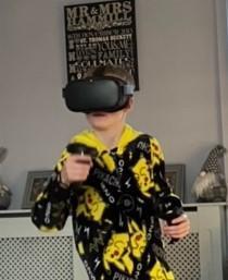 Leyton boxing on his VR headset