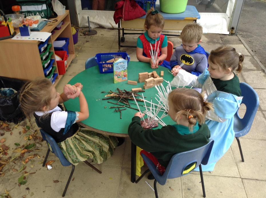 Making 'The Three Little Pigs' houses