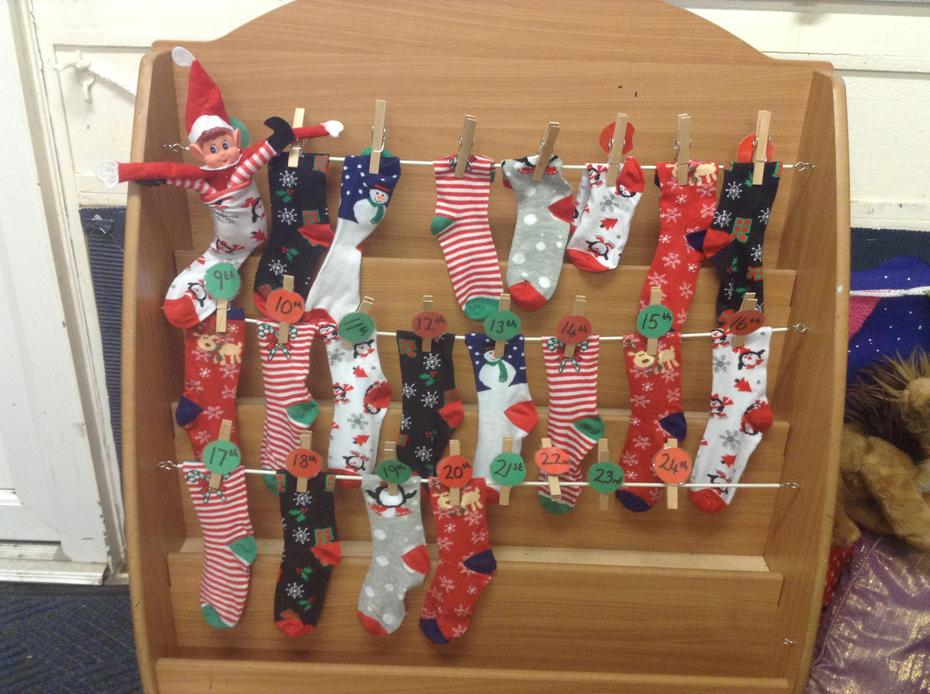9th: Today we found Ted hiding in one of our advent calendar socks!