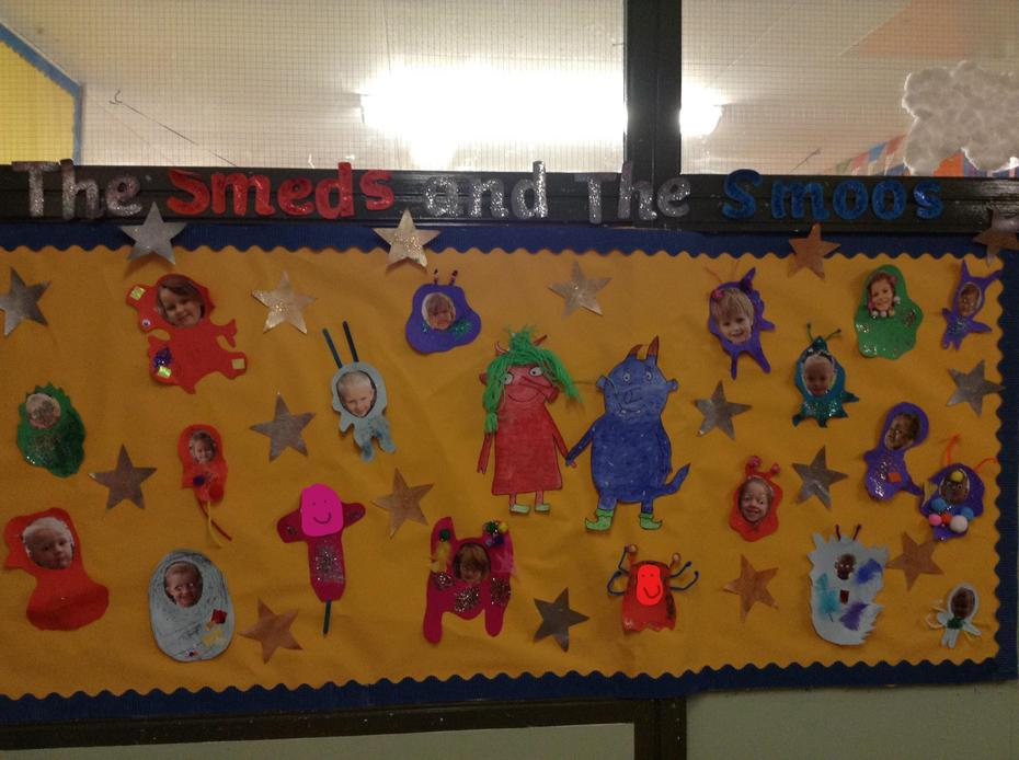 We enjoyed the book 'The Smeds and The Smoos' and made our own alien pictures!
