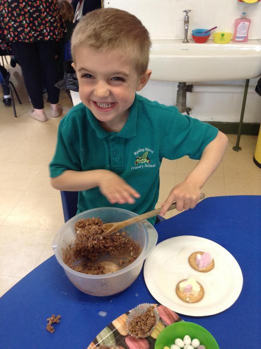 We made chocolate rice krispie cakes