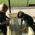 We looked for the sounds that we've been learning in the water tray