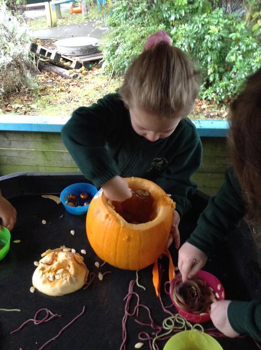 Pumpkin and spaghetti messy play