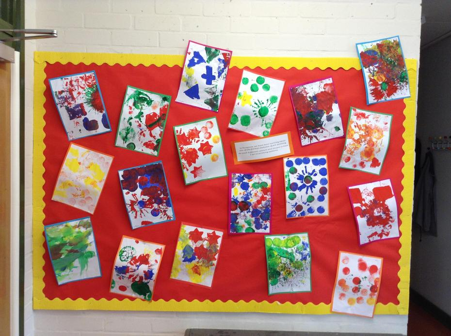 We used different colours and shapes to have a go at printing patterns.