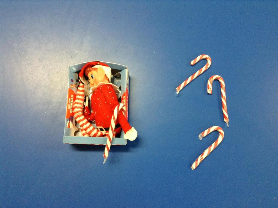 2nd: The elf hid lots of candy canes around the classroom... we enjoyed finding them all!