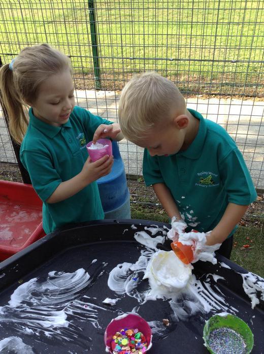 Making shaving foam, sequin and glitter 'ice creams'
