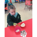 Counting spoonfuls of oats for bears porridge