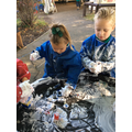 We made beanstalk towers and used shaving foam for the clouds